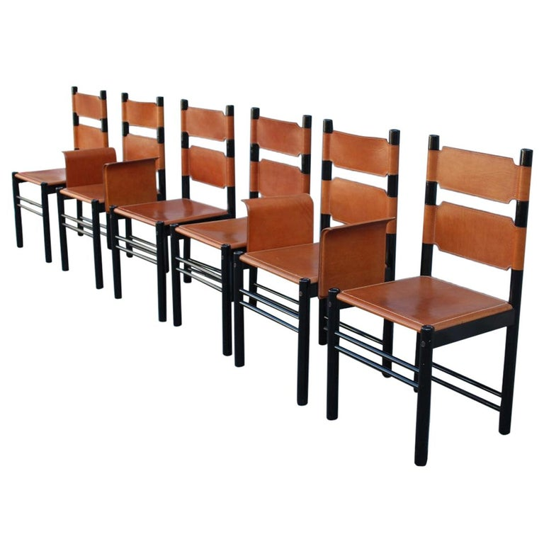 6 Italian Chairs Black Cognac Leather Ibisco Made in Italy Design, 1960s For Sale