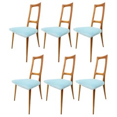 6 Italian Dining Chairs, Italy, 1950s