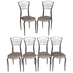 6 Italian Midcentury Graceful Iron Chairs Taupe Colored Paint Vintage Leather