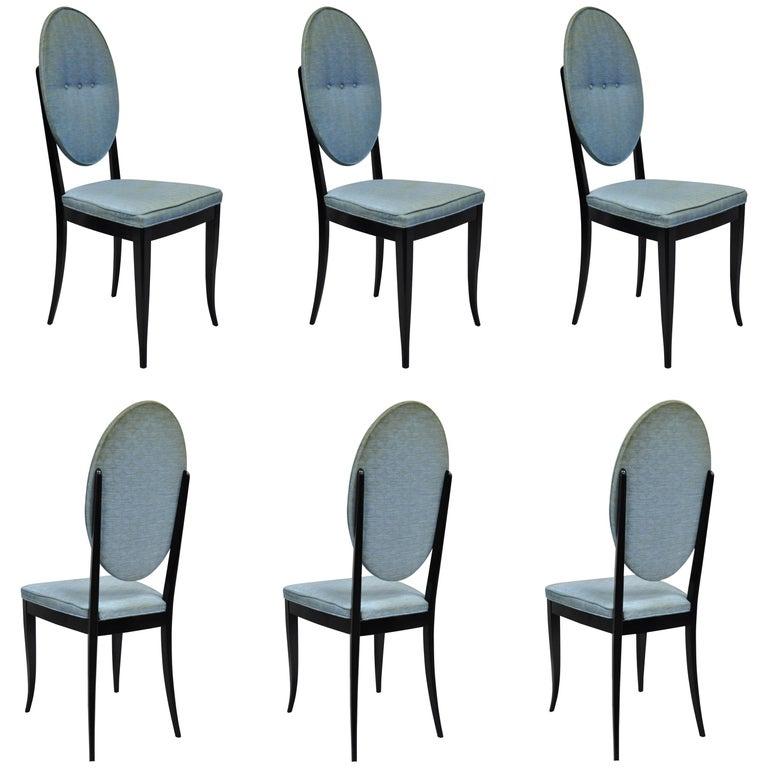6 Italian Modernist Oval Back Black Lacquer Gio Ponti