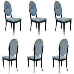 6 Italian Modernist Oval Back Black Lacquer Gio Ponti Style Dining Chairs