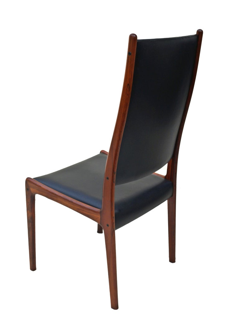 6 Johannes Andersen Danish Modern Dining Chairs Rosewood Mogens Kold Denmark For Sale 4