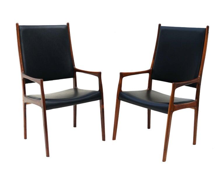 Scandinavian Modern 6 Johannes Andersen Danish Modern Dining Chairs Rosewood Mogens Kold Denmark For Sale