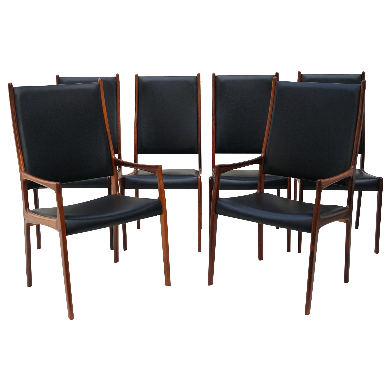 6 Johannes Andersen Danish Modern Dining Chairs Rosewood Mogens Kold Denmark