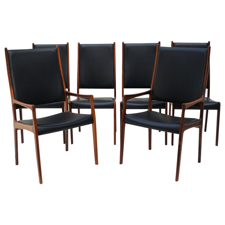 6 Johannes Andersen Danish Modern Dining Chairs Rosewood Mogens Kold Denmark For Sale