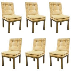 6 John Stuart Patinated Brass Metal Base Parsons Style Dining Chairs