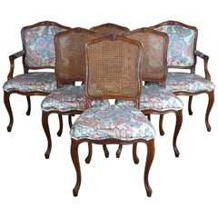 6 John Widdicomb Walnut French Louis XV Provincial Cane Back Dining Chair Vtg