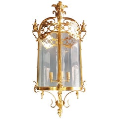 6 Large Cylindrical Lantern in Louis XVI Style Brass Glass Pendant Lighting