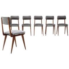 "6 ""Lella"" Chairs in Gray Velvet by Ezio Longhi for Elam, 1950s"