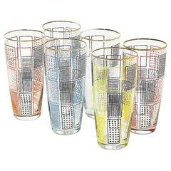 6 Lemonade Glasses by Mdl, Belgian Factory, 1960s