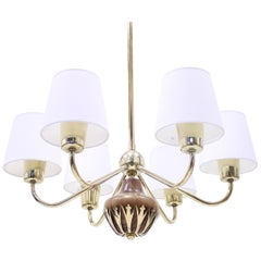 6-Light Ceiling Lamp, Attributed to ASEA, 1950s