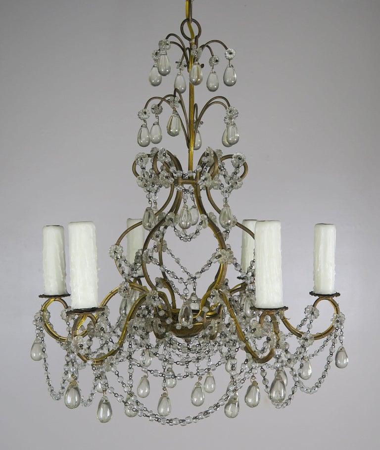 Rococo 6-Light Italian Crystal Beaded Chandelier For Sale