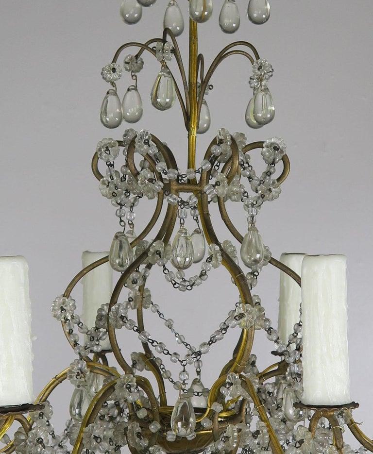 Gilt 6-Light Italian Crystal Beaded Chandelier For Sale