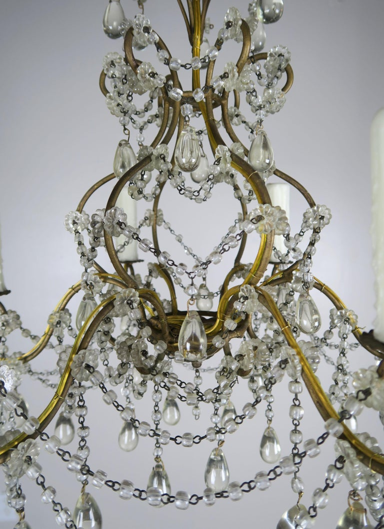 6-Light Italian Crystal Beaded Chandelier In Good Condition For Sale In Los Angeles, CA