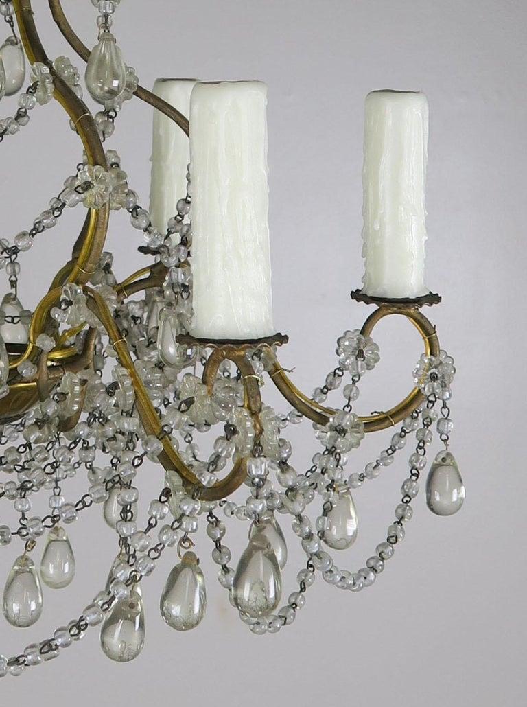 20th Century 6-Light Italian Crystal Beaded Chandelier For Sale