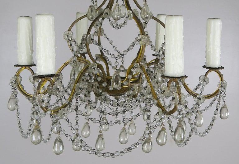 6-Light Italian Crystal Beaded Chandelier For Sale 2