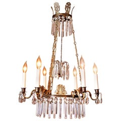 6-Light Neoclassical Style Brass and Crystal Chandelier, Sweden, circa 1890