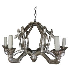 6-Light Pagoda Style Silvered Bamboo Chandelier