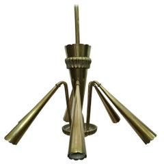 6-Light Brass Chandelier, 1950