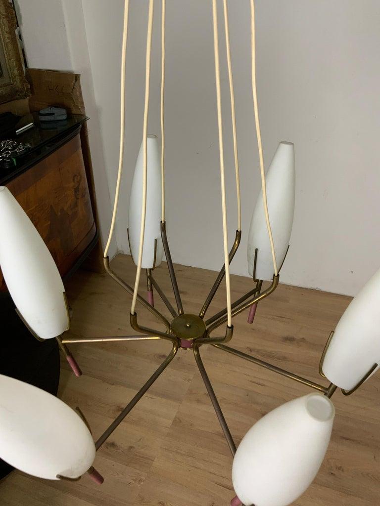 6 Lights Stilnovo Chandelier For Sale 3