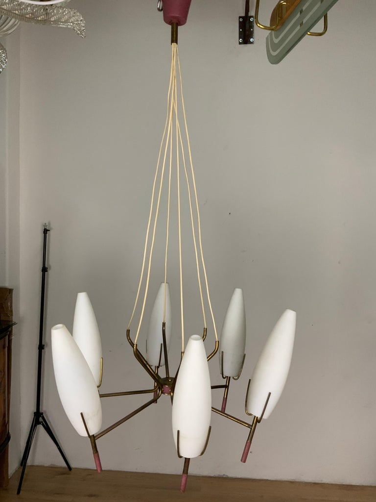 Chandelier from the 1950s, 6 lights, attributed to the manufacturer Stilnovo.