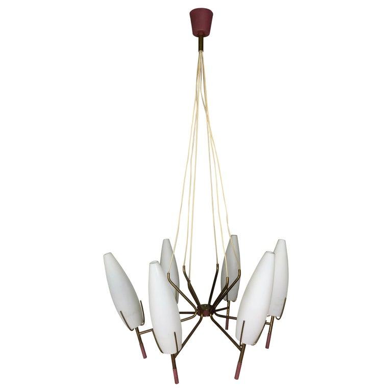 6 Lights Stilnovo Chandelier For Sale