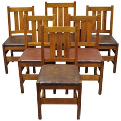 6 L&J.G. Stickely Oak Mission Arts & Crafts Dining Chairs Leather Seat