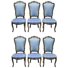 6 Louis XV French Provincial Style High Back Dining Chairs by White Furniture Co