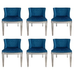6 Mademoiselle Chairs by Philippe Starck, 4 Kartell in Blue Romo Fabric