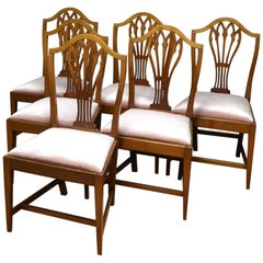6 Mahogany Edwardian Hepplewhite Design Antique Dining Chairs