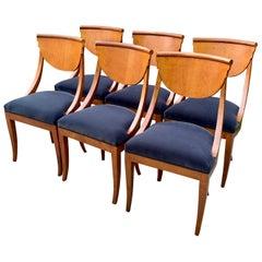 6 Maple Italian Deco Dining Chairs in Belgian Velvet Upholstery