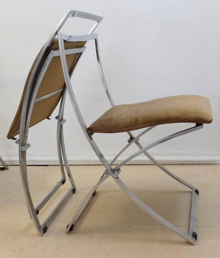 Six Marcello Cuneo Folding Chairs 'Model Luisa' for Mobel, Italia New Upholstery For Sale 3