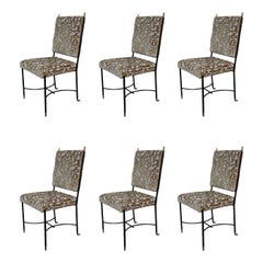 6 Metal, Brass and Grey Wool and Yellow Velvet Midcentury Italian Chairs, 1960