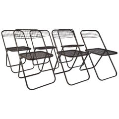 6 Midcentury Grey Metal Folding Chairs by Niels Gammelgaard, Sweden, circa 1970
