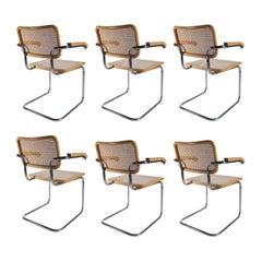 6 Midcentury Marcel Breuer B32 Cesca Chairs, Fasem Italy, 1970