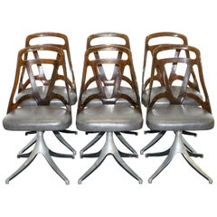 6 Mid-Century Modern 1960s Sculptural Dining Chairs Steel Base Leather Seat