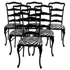 6 Mid-Century Modern Tall-Back Ebonized and Zebra Print Dining Chairs