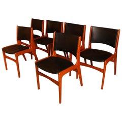 6 Midcentury Teak Dining Chairs Model 89 Erik Buch for Povl Dinesen