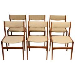 6 Midcentury Erik Buck Teak Dining Chairs