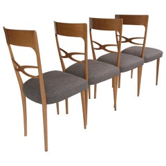 6 Midcentury Italian Dining Chairs, Early 1950s, Blond Wood, Grey Upholstery