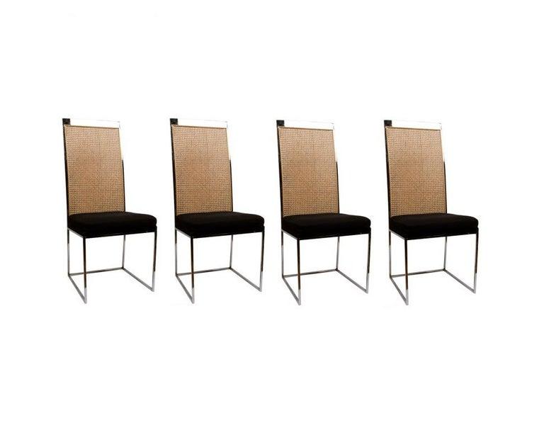 Mid-Century Modern 6 Milo Baughman Chrome & Cane Back Black Velvet Dining Chairs For Sale