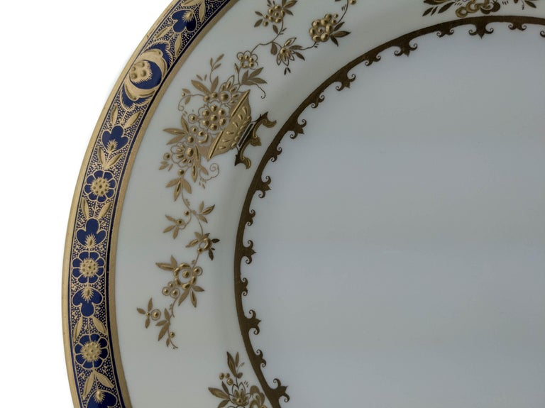 Hand-Crafted 6 Minton England Cobalt Blue and Raised Gold Dinner Plates For Sale