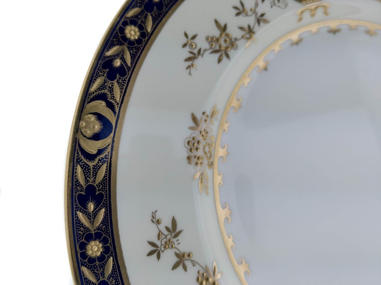 6 Minton England Cobalt Blue and Raised Gold Dinner Plates In Good Condition For Sale In West Palm Beach, FL