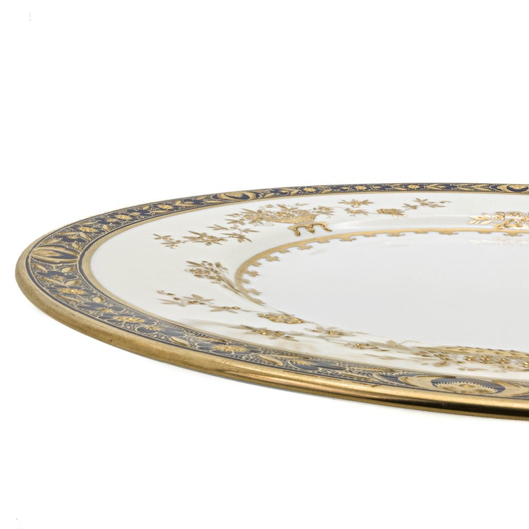 Mid-20th Century 6 Minton England Cobalt Blue and Raised Gold Dinner Plates For Sale