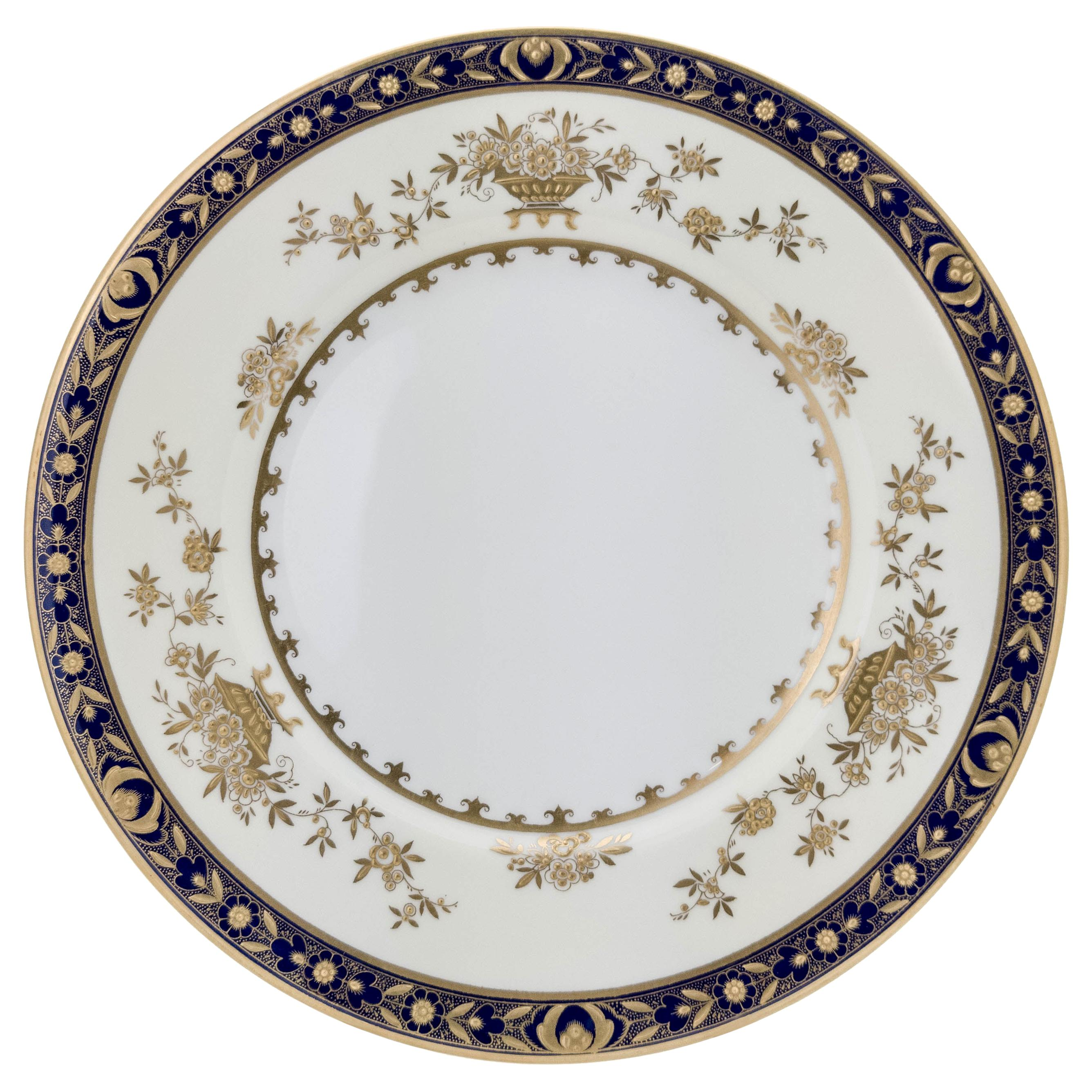 6 Minton England Cobalt Blue and Raised Gold Dinner Plates