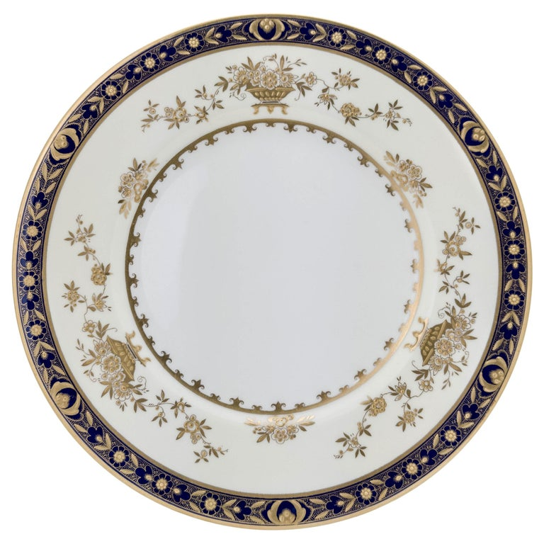 6 Minton England Cobalt Blue and Raised Gold Dinner Plates For Sale