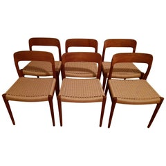 6 Model 75 Chairs in Teak and Papercord by N.O. Moller for J.L. Mollers, Denmark
