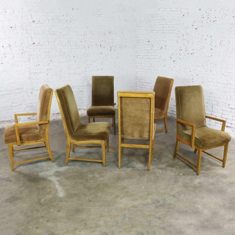 6 Modern Style Vintage Dining Chairs Velvet Scoop Seats Bernhardt Flair Hibriten
