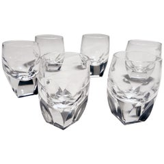 6 Moser Shot Glasses Art Nouveau Hand Blown, Lady Hamilton by Moser