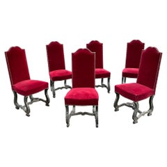 6 Neoclassic Chairs in Blackened and Ceruse Oak, circa 1940-1950